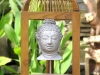 Stone Buddha in Recycled Teak & Rattan Bird Cage -- bcg-0130