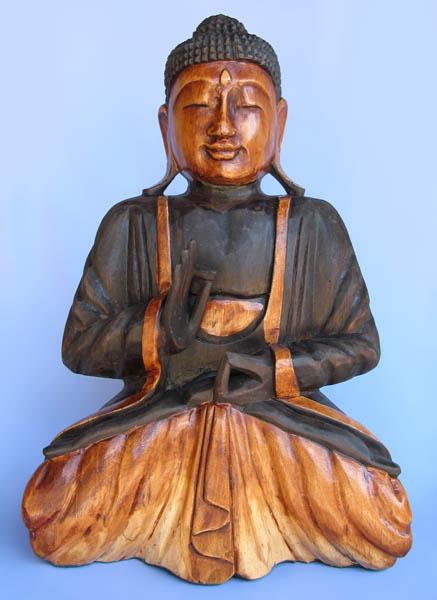 Painted Albesia Wood Buddha Statue -- rsp-081